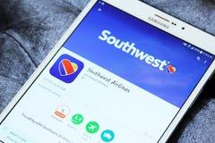 App νοτιοδυτικών αερογραμμών λογότυπο στο παιχνίδι google Στοκ φωτογραφία με δικαίωμα ελεύθερης χρήσης