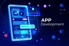 App προσαρμοστικό έμβλημα εφαρμογής σχεδιαγράμματος ανάπτυξης απεικόνιση αποθεμάτων