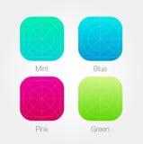 App πρότυπο εικονιδίων που τίθεται με τις οδηγίες Διανυσματικό φρέσκο χρώμα απεικόνιση αποθεμάτων