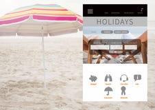App σπασιμάτων διακοπών διεπαφή στην παραλία Στοκ φωτογραφίες με δικαίωμα ελεύθερης χρήσης