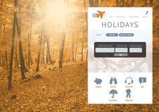 App σπασιμάτων διακοπών διεπαφή στο δάσος Στοκ Φωτογραφία