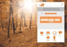 App σπασιμάτων διακοπών διεπαφή στο δάσος Στοκ φωτογραφία με δικαίωμα ελεύθερης χρήσης