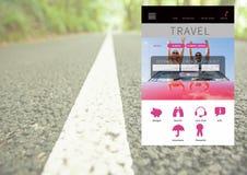 App σπασιμάτων διακοπών ταξιδιού διεπαφή με το δρόμο Στοκ Εικόνες