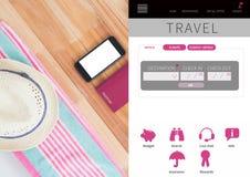 App σπασιμάτων διακοπών ταξιδιού διεπαφή Στοκ Εικόνες