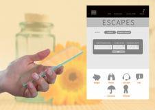 App σπασιμάτων οθόνης γυαλιού εκμετάλλευσης χεριών και διακοπών διαφυγών διεπαφή Στοκ Εικόνα