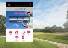 App σπασιμάτων ταξιδιού με σκοπό τις διακοπές διεπαφή με το γκολφ Στοκ Εικόνες