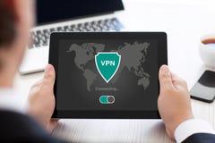 App ταμπλετών εκμετάλλευσης ατόμων vpn protectio πρωτοκόλλων Διαδικτύου δημιουργιών Στοκ Εικόνες