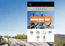 App ταξιδιού διεπαφή Στοκ φωτογραφία με δικαίωμα ελεύθερης χρήσης