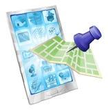 app τηλέφωνο χαρτών έννοιας Στοκ Φωτογραφία