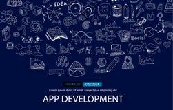 App υπόβαθρο έννοιας Infpgraphic ανάπτυξης με το ύφος σχεδίου Doodle: ενδιάμεσα με τον χρήστη Στοκ Εικόνες