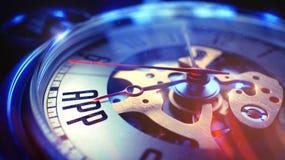 App - φράση στο εκλεκτής ποιότητας ρολόι τσεπών τρισδιάστατη απεικόνιση Στοκ Εικόνες