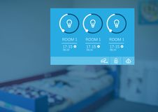 App φω'των συστημάτων εγχώριας αυτοματοποίησης διεπαφή Στοκ Φωτογραφίες
