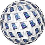 巧妙的电话App铺磁砖球形样式 库存图片
