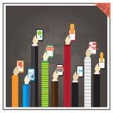 Επίπεδο διανυσματικό app εικονιδίων Ιστού μάρκετινγκ τηλεφωνικών επιχειρήσεων χεριών MO Στοκ Εικόνα