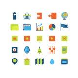 Пакет значка интерфейса app сети плоского вектора передвижной: загрузка загрузки Стоковые Фотографии RF