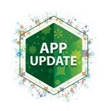 App aktualizacji rośliien wzoru zieleni sześciokąta kwiecisty guzik fotografia stock
