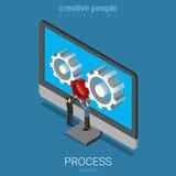 App application software launch cogwheel flat vector isometric Royalty Free Stock Photo