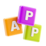 app-applikation som kubemblemsymbol Arkivfoton