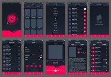 App audio do projeto do ui do livro ilustração do vetor