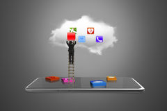 App blocks smart tablet with cloud and businessman climbing ladd Royalty Free Stock Photo