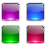 App buttons set. Colored and glossy app buttons set on white background Stock Image