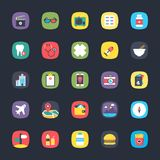 App Colored Icons Set. These colorful, eye pleasing flat icons belong to the category of apps. The objects in the set are so intricately designed using striking Stock Image