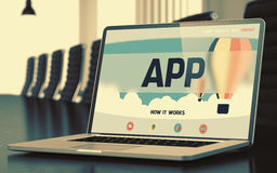 App Concept op Laptop het Scherm 3d Royalty-vrije Stock Foto's