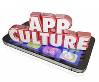 App Culture 3d Words Cell Mobile Phone Download Applications Sof. App Culture words in 3d red letters on a modern cell or mobile phone to illustrate addiction to Royalty Free Stock Images
