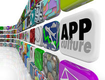 App Culture Download Program Application Software Society. App Culture words on a tile in software application program tiles to illustrate addiction to Royalty Free Stock Photo