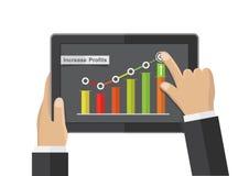 App da tabuleta do negócio da mão, vetor do conceito do crescimento do comércio do ganho ilustração do vetor