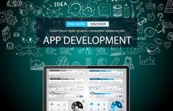 App de Achtergrond van het Ontwikkelingsconcept met de stijl van het Krabbelontwerp stock illustratie