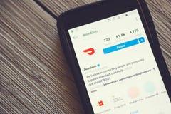App de DoorDash en un tel?fono m?vil imagen de archivo libre de regalías