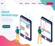 App de la compra y venta de acciones para los hombres de negocios del concepto isométrico de las ilustraciones libre illustration