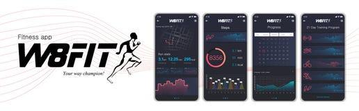 App de los fitnes de diversas pantallas de UI, de UX, del GUI e iconos planos de la web para los apps móviles stock de ilustración