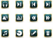 App de pictogrammen van de stijlmuziek Stock Foto