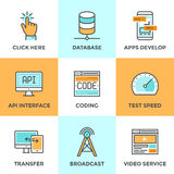App develop and data technology line icons set Royalty Free Stock Images