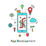 App Development and Application Building with Clod Storage, Geo Location, Notifications and Settings Vector Icon Style Simple Illu. Stration Design Royalty Free Stock Photography
