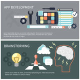 App development and brainstorming. Flat design concept for app development and brainstorming with tools, programing code, human think Royalty Free Stock Photo