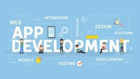 App development concept. App development concept illustration. Idea of creating and programming applications Royalty Free Stock Photo
