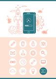App development concept banner with a set of related icons Royalty Free Stock Image