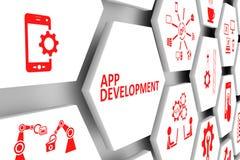 App development concept. Cell background 3d illustration stock illustration
