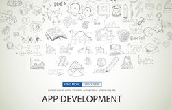App Development Concept with Doodle design style Stock Photo