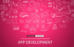 App Development Concept with Doodle design style Royalty Free Stock Photography