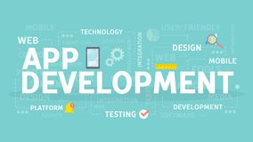 App development concept. App development concept illustration. Idea of creating and programming applications Stock Photos