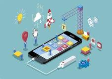 App Development Concept. Mobile App Development and design process concept. Vector illustration royalty free illustration
