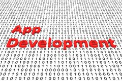 App development. In the form of binary code, 3D illustration Royalty Free Stock Photo