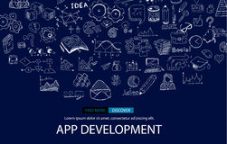 App Development Infpgraphic Concept Background with Doodle design style :user interfaces. UI design,mobiel devices. Modern style illustration for web banners Stock Photo