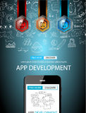 App Development Infpgraphic Concept Background with Doodle design Stock Photos