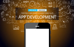 App Development Infpgraphic Concept Background with Doodle design Stock Photography