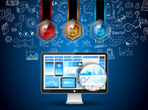 App Development Infpgraphic Concept Background with Doodle design Royalty Free Stock Image